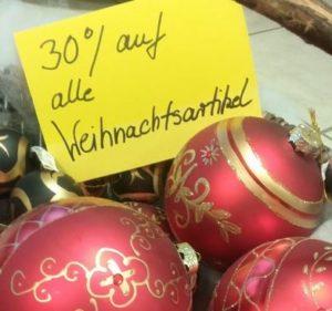30 % Rabatt auf alle Weihnachtsartikel